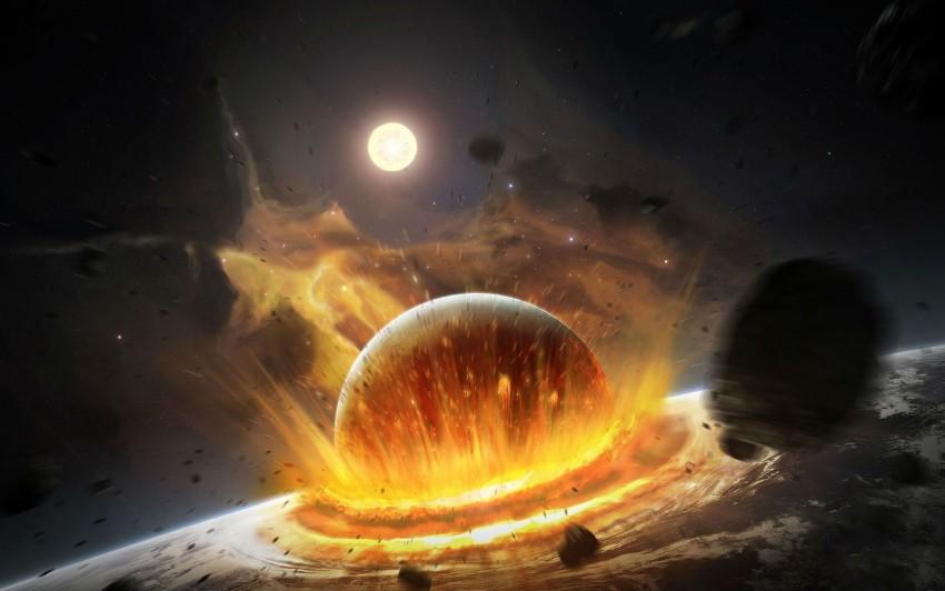 1680x1050 Best Ultra HD 3D Wallpaper, Planets, Colapase, Crash