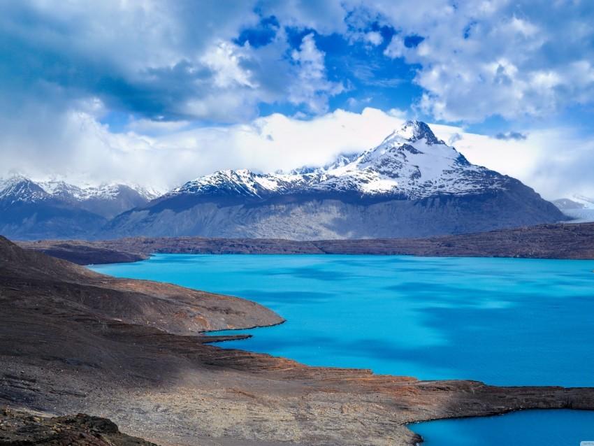 2048x1536 4K iPad Wallpaper, Blue Water, Mountain, Clouds, Blue Sky, Snow Mountain