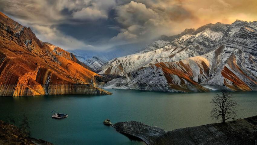 3840x2160 4k Wallpaper 1080p Is 4K Wallpaper For Desktop, River, Lake, Mountain, boats, Clouds