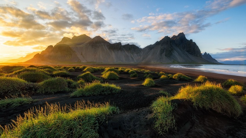 3840x2160 Black Sand Beach In Iceland Sunset Over Vestrahorn Batman Mountain
