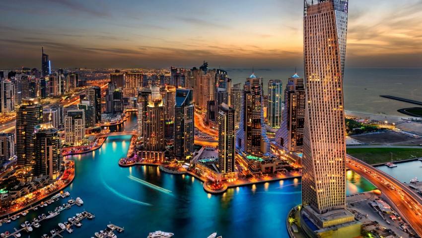 3840x2160 Dubai Skyscrapers, United Arab Emirates UHD 4K Wallpaper, City Lights, Clouds