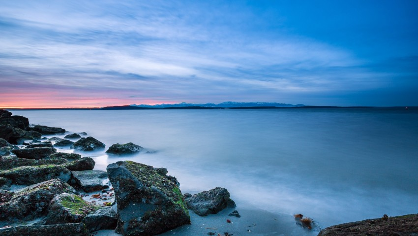 3840x2160 Mountain Lake Rocks Sunset 4K Ultra HD Desktop Wallpaper