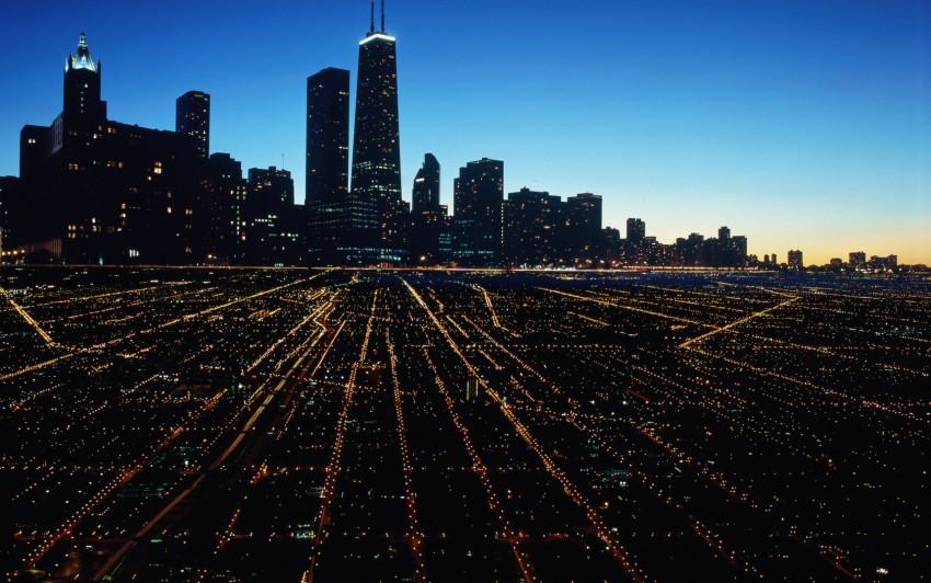 3840x2400 Chicago Night Ultra HD 4K Wallpaper, Super City, City lights