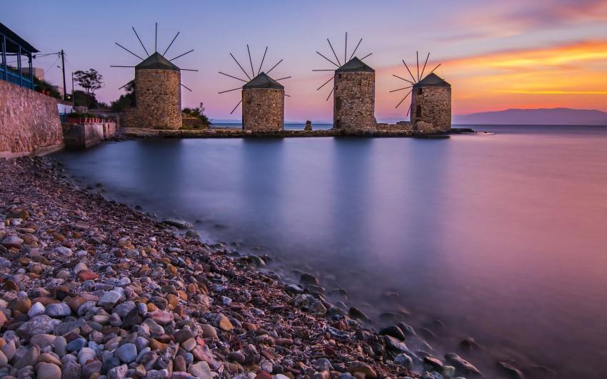 3840x2400 Windmills In Chios Aegean Sea Greece 4k Ultra HD Desktop, Rocks, Ocean, Sea, Sunset