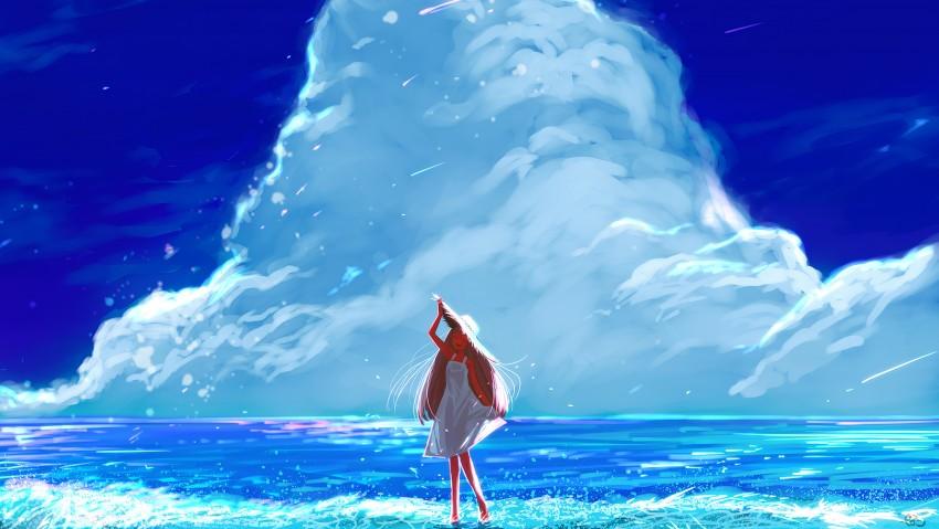 4K Anime Girl Beach Happy Long Hair Clouds, Beautiful Girl, Blue Sky