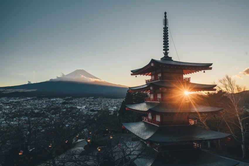 4K Wallpapers, Desktop wallpapers, Temple, Fujisan and Sun, Japan, Temple, Shrine