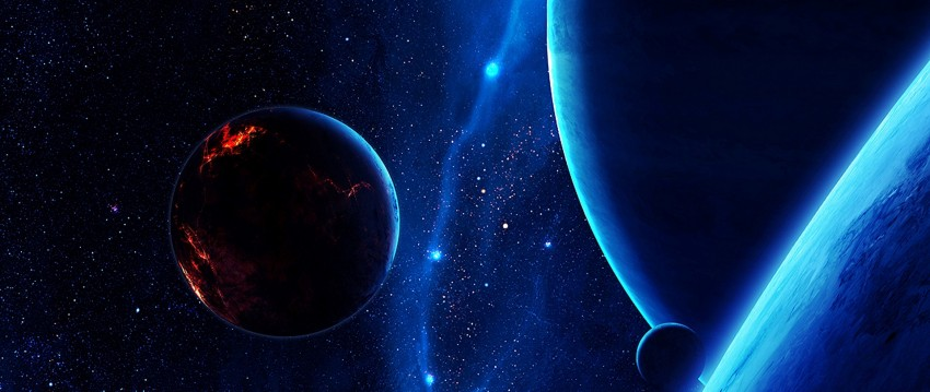 5120x2160 Satellites flying all over the universe HD Wallpaper 4K Ultra, Planets, Stars, Universe