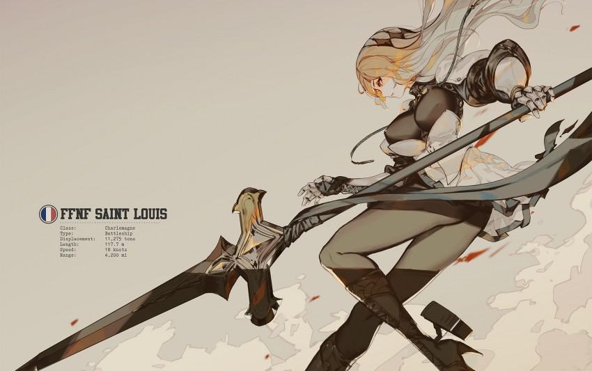 Anime, anime girls, Azur Lane, Saint Louis (Azur Lane), women, sword, blonde,