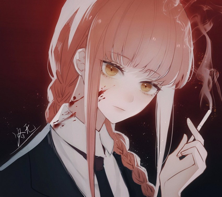 Anime, Chainsaw Man, Makima Smoking, HD mobile wallpaper