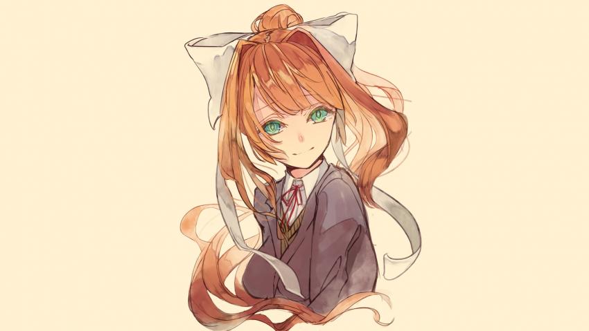 Anime girl, redhead, Doki Doki Literature Club, Monika schoolgirl, green eyes