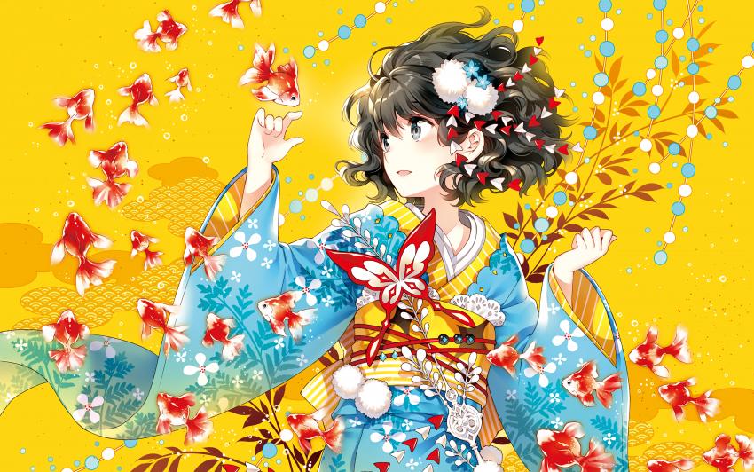 Anime girl underwater fishes dream fantasy yellow background 4000x2500