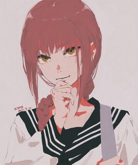 Anime girls, anime, Chainsaw Man, school uniform, XilmO, HD iPhone wallpaper