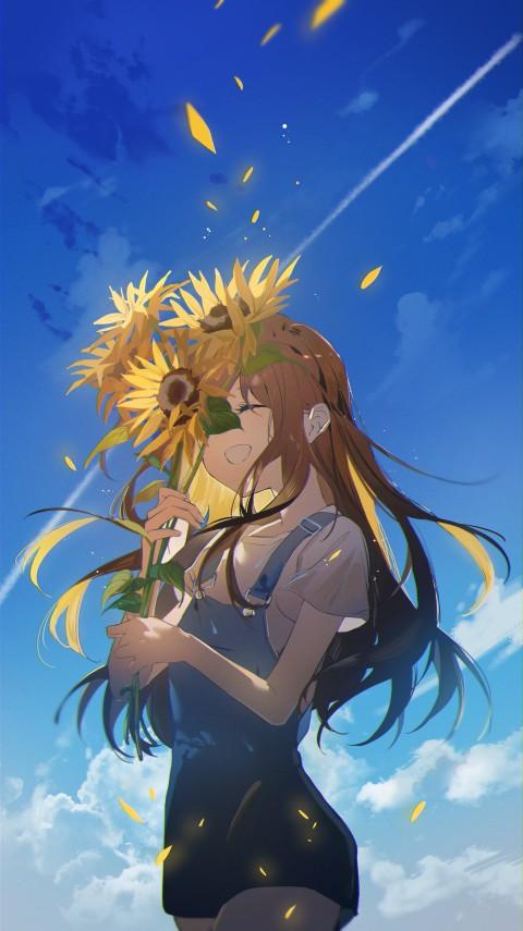 Anime girls, Omutatsu, artwork, brunette, sunflowers, Someday in that Summer,