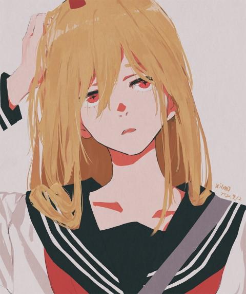 Anime girls pfp, anime, Chainsaw Man water paint, school uniform, XilmO, HD mobile wallpaper