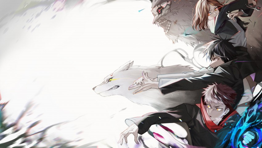 Anime, Jujutsu Kaisen, Nobara Kugisaki, Girl, Yuji Itadori, Megumi Fushiguro, HD Desktop Wallpaper