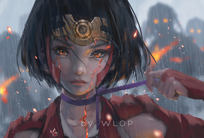 Anime Kabaneri of the Iron Fortress, Art by WLOP, Digital Art 3840x2594