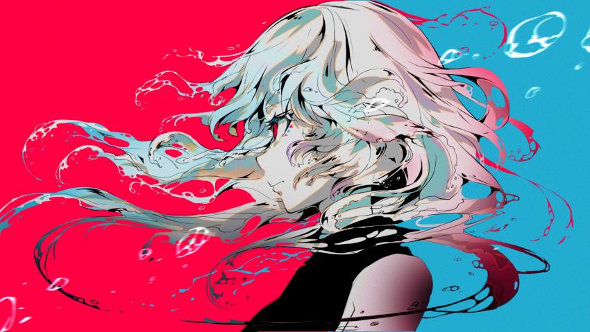 Anime, red eyes, blue hair, red blue, girls, profile, white hair,