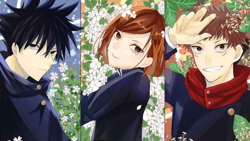 Black Hair, Jujutsu Kaisen, Megumi Fushiguro, Nobara Kugisaki, Yuji Itadori, HD wallpaper
