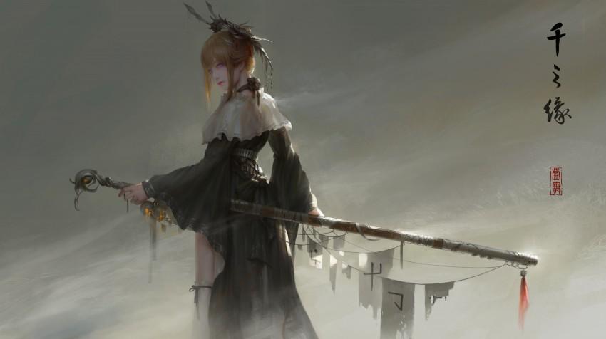 General fantasy warrior women art Asian original characters void sword HD Wallpaper