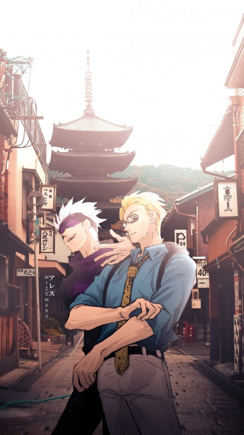 Gojo and Nanami, anime aesthetic, gojo satoru, jujutsu kaisen, megumi, HD mobile wallpaper