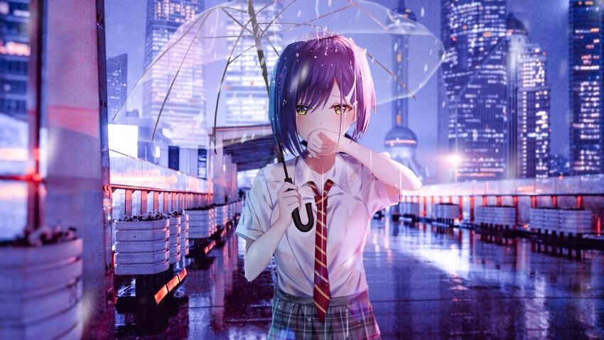 Ichigo From Darling In The Franxx 4K, Sad Anime Girl Crying in Rain with Umbrella
