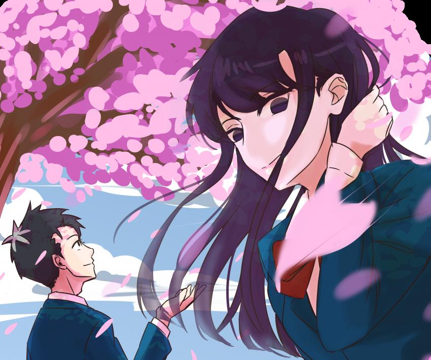 Komi san wa Comyushou desu, anime girl, anime boy, Hitohito Tadano, Sakura, Cherry Blossom