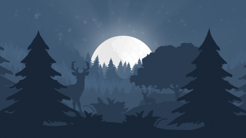 Minimalism forest night moon rays blue HD Desktop Wallpaper