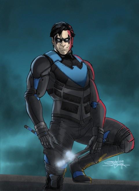 Nightwing, Gotham knights game wallpaper, 2D, Gotham City, Dark City