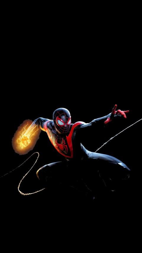 Spider Man Miles Morales OLED Wallpaper, Black Spiderman