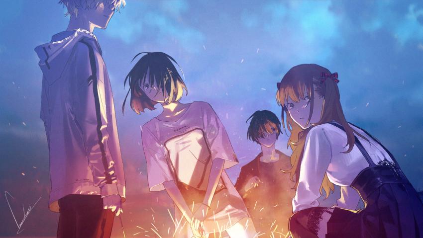 Summer Ghost Wallpaper, Aoi Harukawa, Tomoya Sugisaki, Ryou Kobayashi, Ayane Satou, Anime Artwork