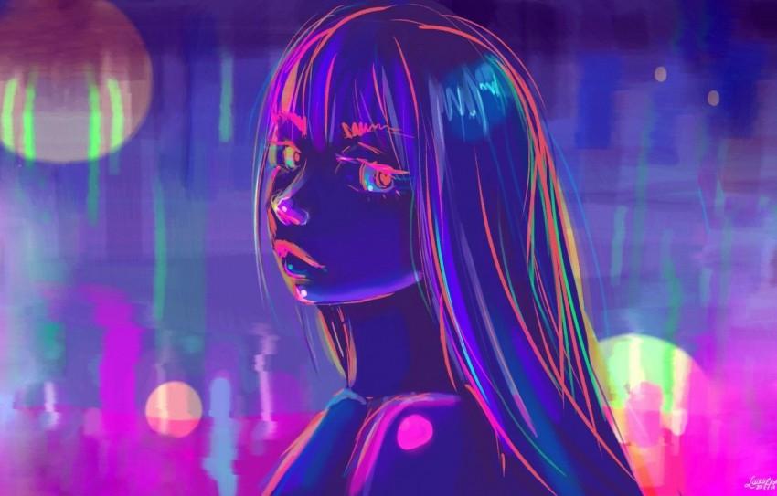 Wallpaper girl figure neon art neon Wallpaper