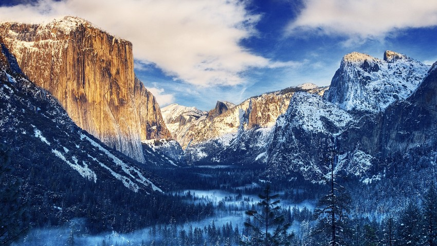 Yosemite Valley Snow Sunset 4K Ultra HD Wallpaper, Beautiful View, Nature, Valley, Snow