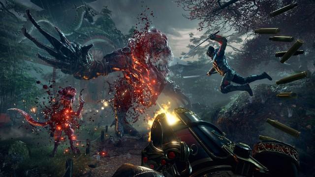 Shadow Warrior 2 Wallpaper in Ultra HD, Aliens, Sword Man, Machine Gun, Fight, Video Game