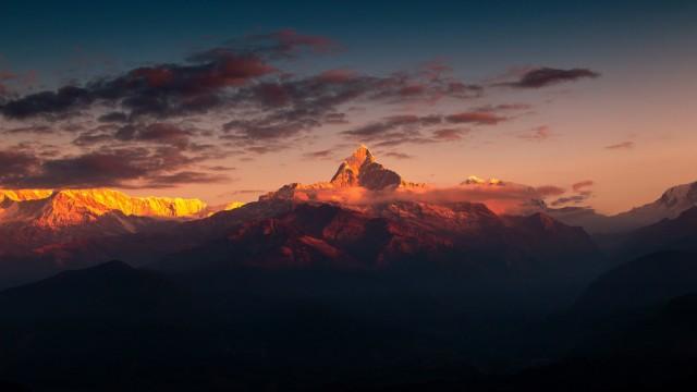 Himalaya, afterglow, mountain, himalayas, mountain range, cloud