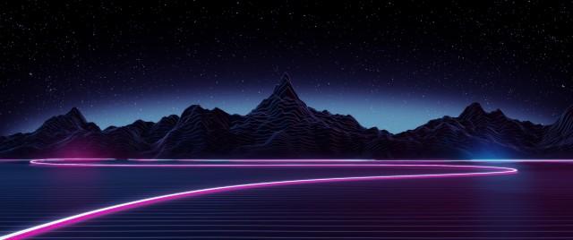 Black mountain wallpaper, digital art, neon, mountains, lake