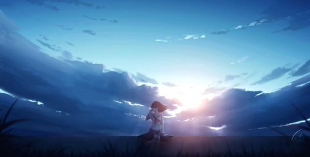 Anime Girl Sitting Alone, Sad, Emotional, Felling Alone, Lonely