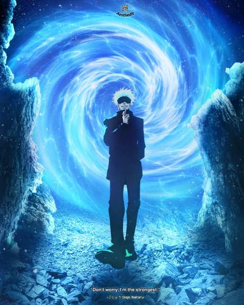Gojo Satoru aesthetic, blue, jjk, jujutsu kaisen, otaku, satoru gojo, weeb, HD mobile wallpaper