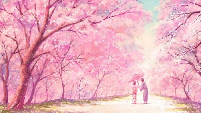 Pink anime desktop wallpaper