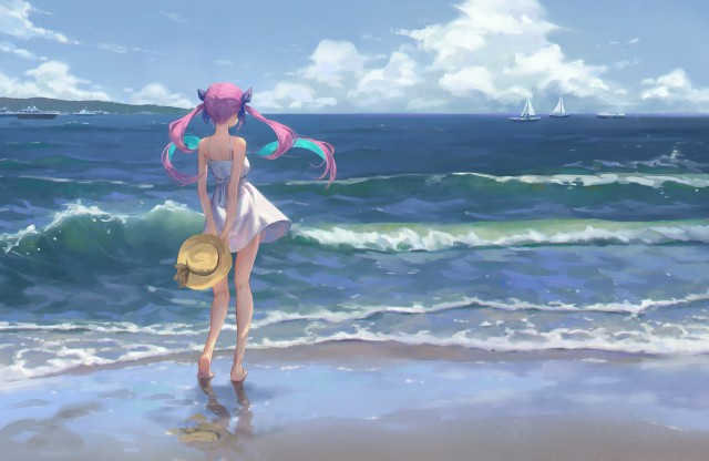 Anime girl barefoot on beach