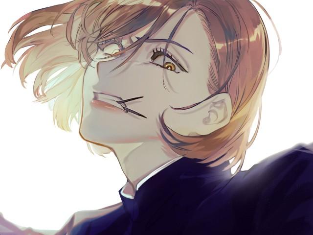 Jujutsu Kaisen, JK, school uniform, black suit, from below HD Desktop Wallpaper