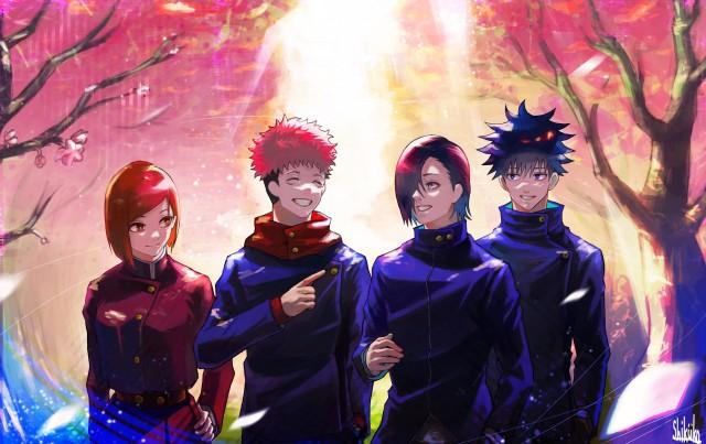 Anime, Jujutsu Kaisen, Yuji Itadori, Megumi Fushiguro,Nobara Kugisaki, Junpei Yoshino,
