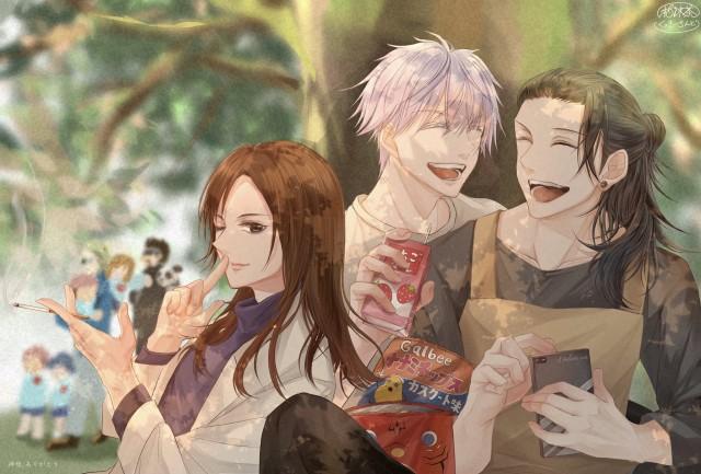 Anime, Jujutsu Kaisen, Satoru Gojo, Suguru Geto, Shoko Ieiri, Boy, Girl, HD Desktop Wallpaper