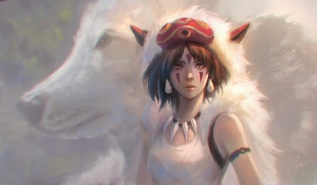 Princess Mononoke San, Ashitaka, wolf Moro, Studio Ghibli anime girls HD Desktop Wallpaper