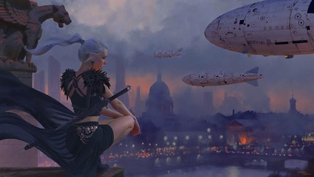 fantasy, girl, WLOP, women, artwork, sky, city,scape,  gargoyles looking into the distance
