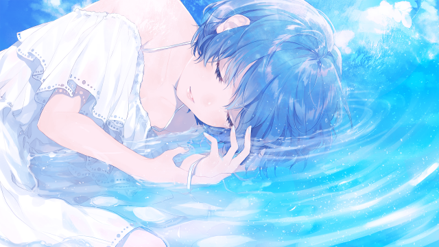 Anime girls, Blue hair, Short hair, In water, Closed eyes, clouds, blue nails, ribbons, waves,