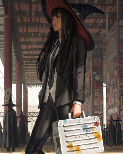 Journey to hogwarts, Trip to hogwarts, anime girl, witch hat, suitcase, black hair, Anime
