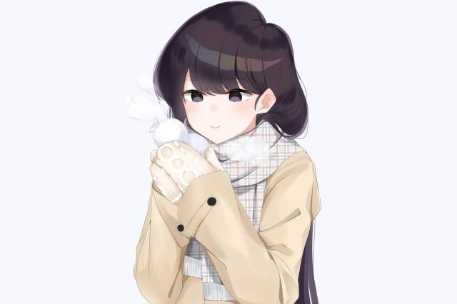 komi shouko, komi san wa komyushou desu, scarf, coat, gloves, Anime, HD wallpaper