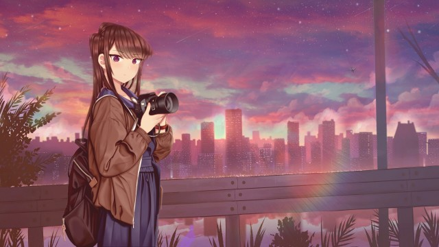 Anime, Komi Can't Communicate, Backpack, Camera, City, Long Hair, Purple Eyes, Sunset