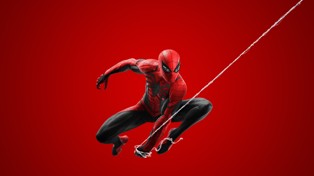 4K Wallpaper, Spider Man Red Suit, Spider Man 2 PS5, Red Background
