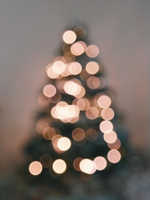 Defocused Image of Illuminated Christmas Tree Against Sky, Blurred Christmas Lights image